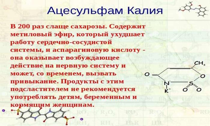 Как применяют подсластитель е950 (ацесульфам калия)