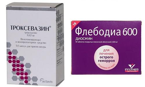 При патологическом расширении вен применяют Флебодиа или Троксевазин
