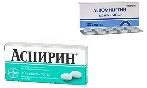 Левомицетин и Аспирин входят в состав лечебных и косметических средств, позволяющих поддерживать здоровье кожи, снижая ее жирность и устраняя очаги воспаления