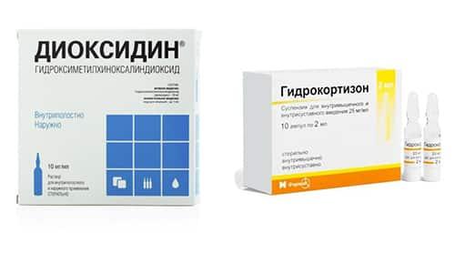 При терапии заболеваний ЛОР-органов часто одновременно назначают Диоксидин и Гидрокортизон