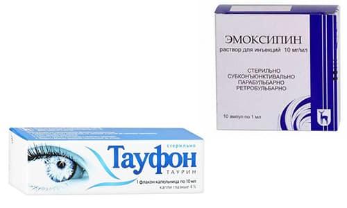 Препараты Тауфон и Эмоксипин считаются эффективными средствами при лечении и профилактике большого количества заболеваний в офтальмологии